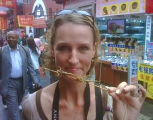 Skewered scorpions Beijing style.