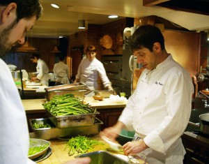 Jerome Waag preps in the Chez Panisse kitchen.