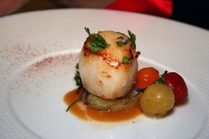 A scallop tempts at The French Laundry.