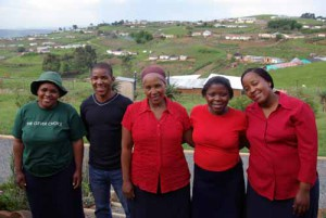 Jane Nxasana, left, with Woza Moya team members Gudane Mthembu (paralegal), Benedicta Ndlovu (co-manager), Dumile Mdladla (youth co-ordinator) and Star Ndlovu.