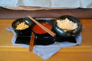 Oryoki meal served up and ready to eat.
