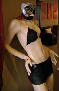 A clothing model at The Bedroom women's sex shop