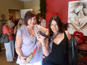 Chantal Edouard-Betsy, left, and Hilda Tod show off some Fifty Shades gear.