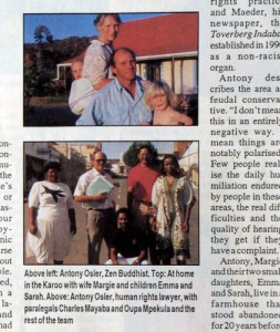 Antony and Margie Osler and their daughters on their Karoo sheep farm in 1994.