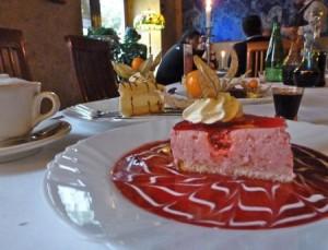 Pod Baranem berry mousse cheesecake and vodkas, Krakow.