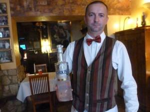 Polish waiter waiter Mariusz Scetlak at Pod Baranem.